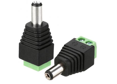 Conector Jack DC Bornera para fuentes y cctv Macho plug 2.1 mm x 5.5 mm