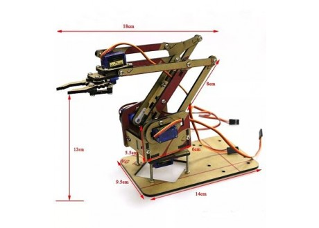 Brazo Robot Robotico Arduino Chasis Madera Mdf Sin Servos
